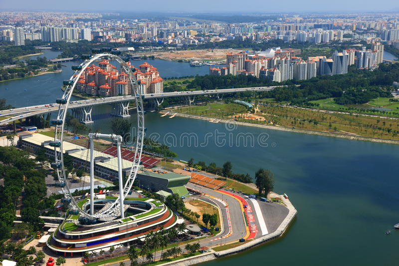 Ferris Wheel and a racing circuit at Marina Bay stock photo