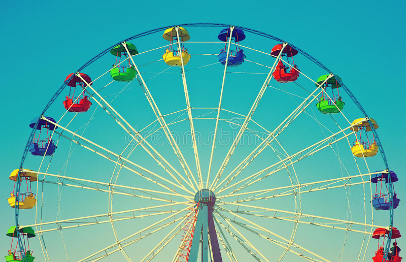 Download Ferris Wheel In Retro Vintage Style Stock Photo - Image of carnival, carousel: 40485478