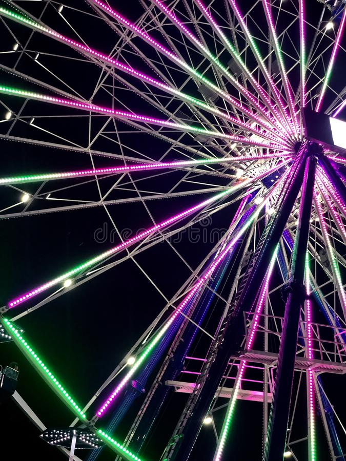 Ferris Wheel in Lights at Night royalty free stock photography