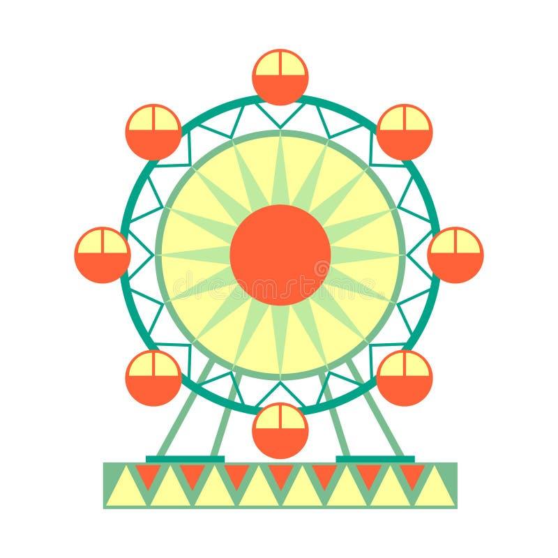 Ferris Wheel Ride grande, parte del parque de atracciones y serie justa de ejemplos planos de la historieta ilustración del vector
