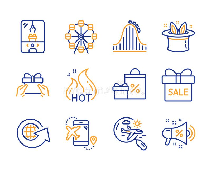 Ferris wheel, Roller coaster and Sale offer icons set. Crane claw machine, Shopping and World globe signs. Vector royalty free illustration