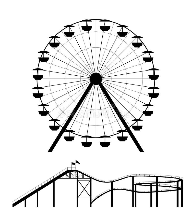 Ferris wheel and roller coaster silhouette. Vector illustration royalty free illustration