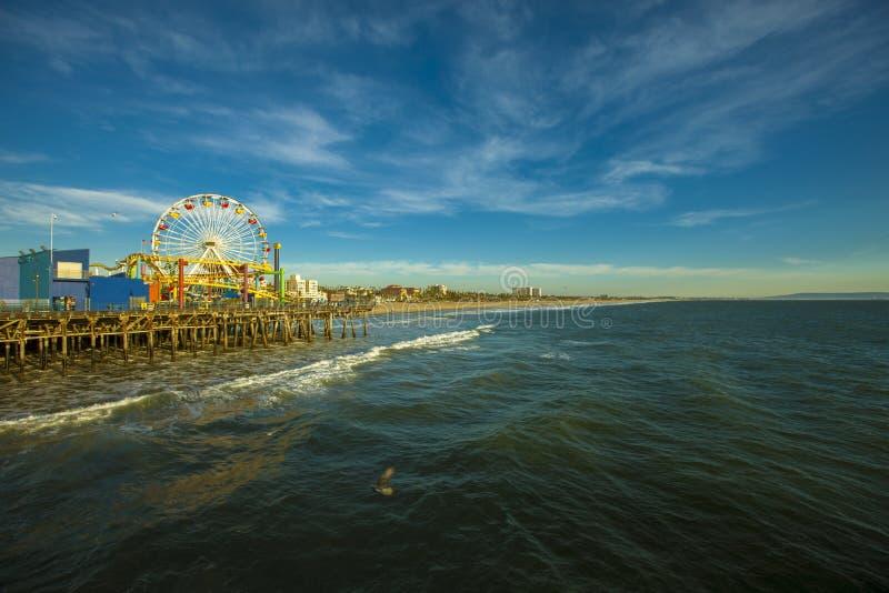 Ferris Wheel in Santa Monica Pier, Californië royalty-vrije stock foto
