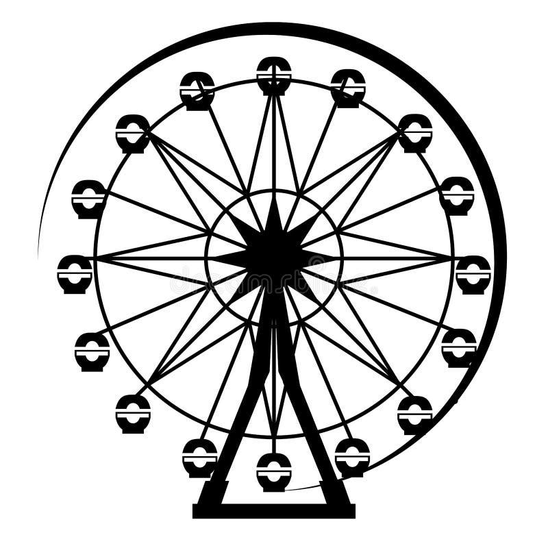 Ferris Wheel Silhouette del parque de atracciones ilustración del vector