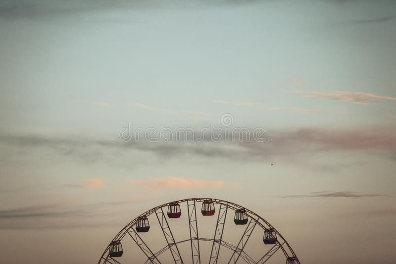 Ferris wheel and sky. In Stavropol, Russia royalty free stock images