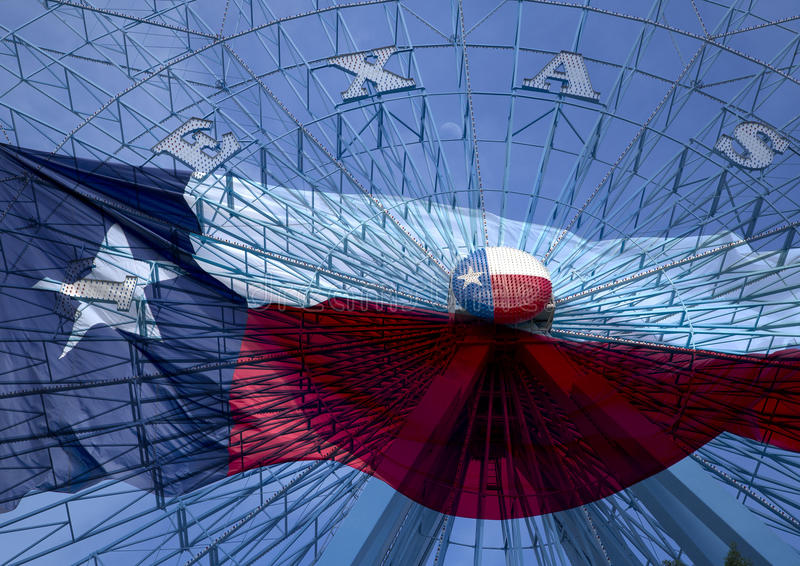 Ferris wheel and Texas state flag. Background stock photo