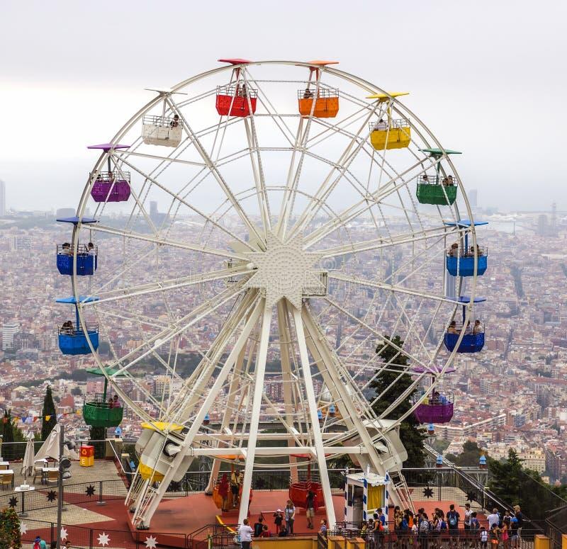 Ferris wheel in Tibidabo. BARCELONA, SPAIN - JULY 3, 2016: Ferris wheel in Tibidabo, Barcelona stock photos