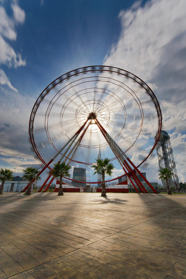 Ferris wheel. Whirling ferris wheel on the waterfront in Batumi stock images