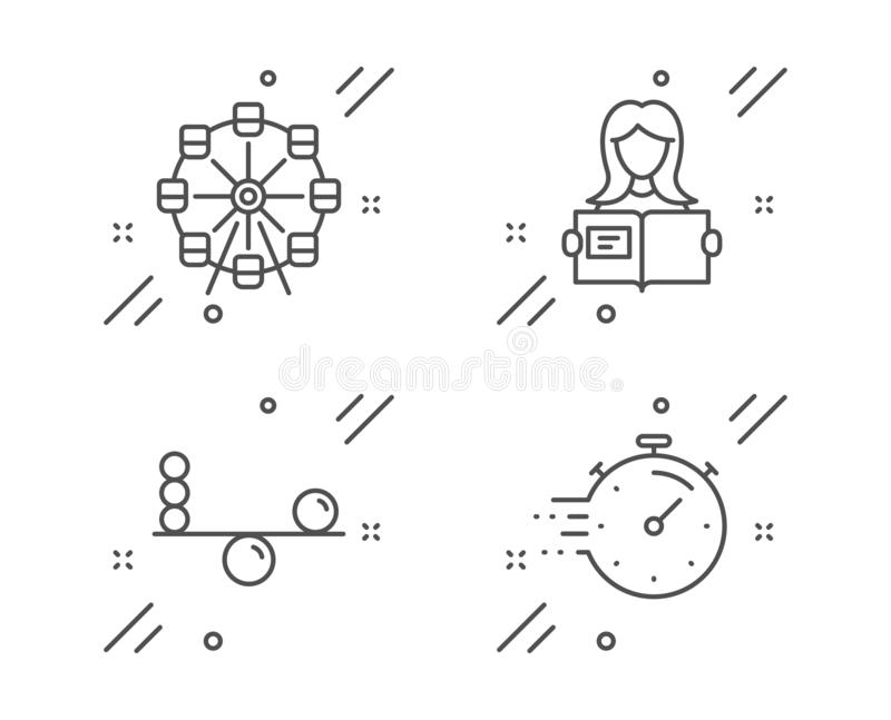 Ferris wheel, Woman read and Balance icons set. Timer sign. Attraction park, Girl studying, Concentration. Vector vector illustration