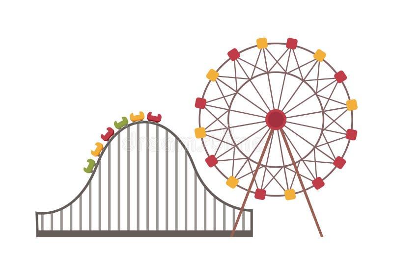 Ferris Wheel y montaña rusa, vector de la atracción stock de ilustración