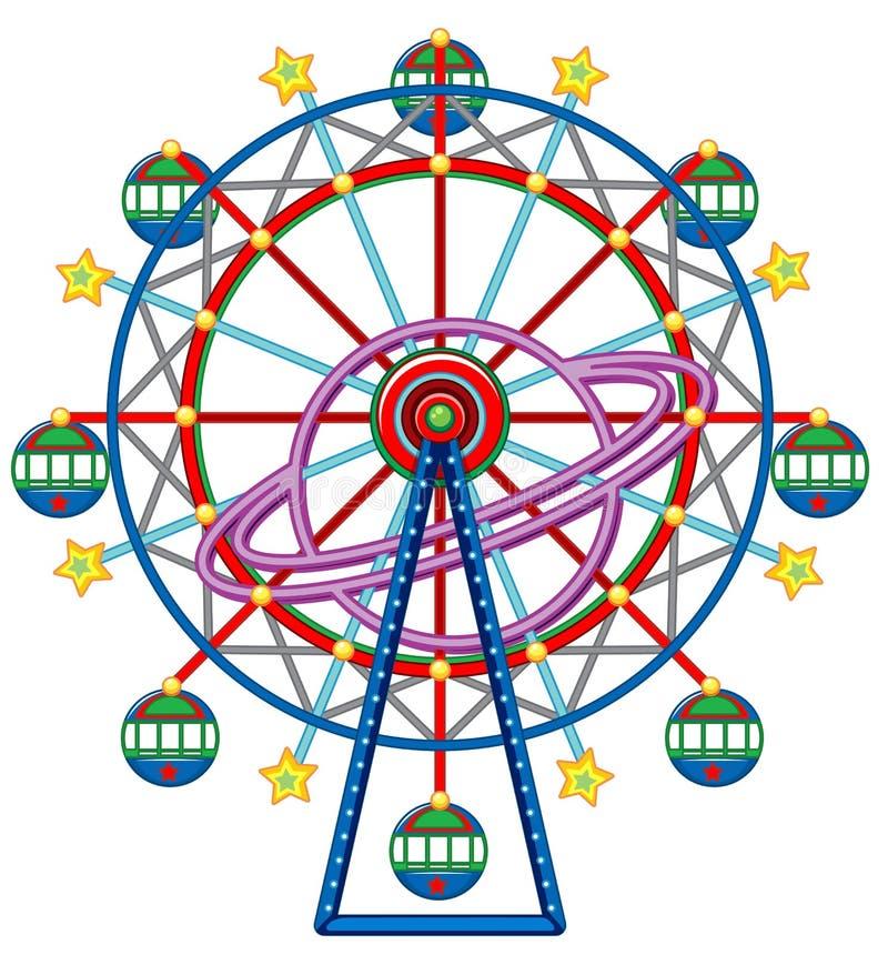 Ferris wheel with yellow stars. Illustration vector illustration