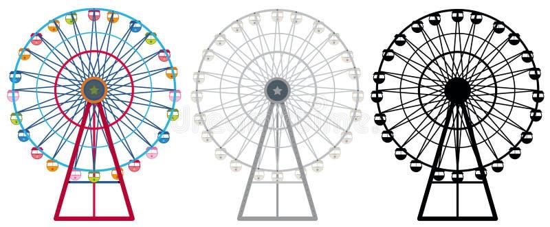 Ferris wheels in three designs royalty free illustration