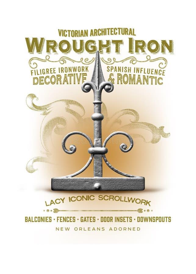 Ferro battuto della raccolta della cultura di New Orleans royalty illustrazione gratis