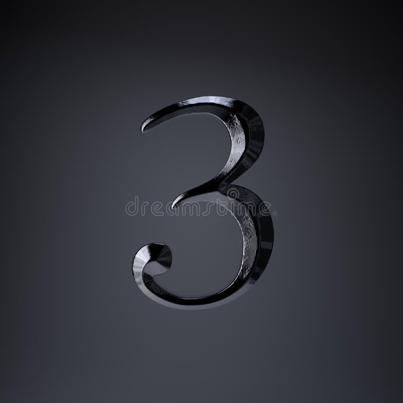 Ferro cesellato numero 3 3d rendono la fonte di titolo di film o del gioco isolata su fondo nero illustrazione di stock