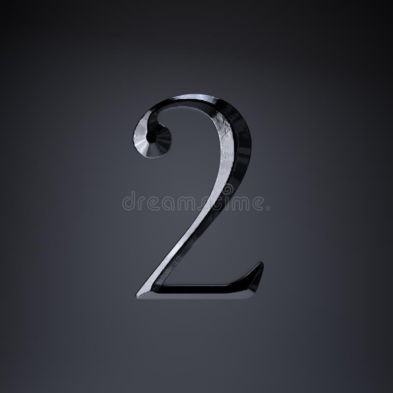Ferro cesellato numero 2 3d rendono la fonte di titolo di film o del gioco isolata su fondo nero illustrazione vettoriale