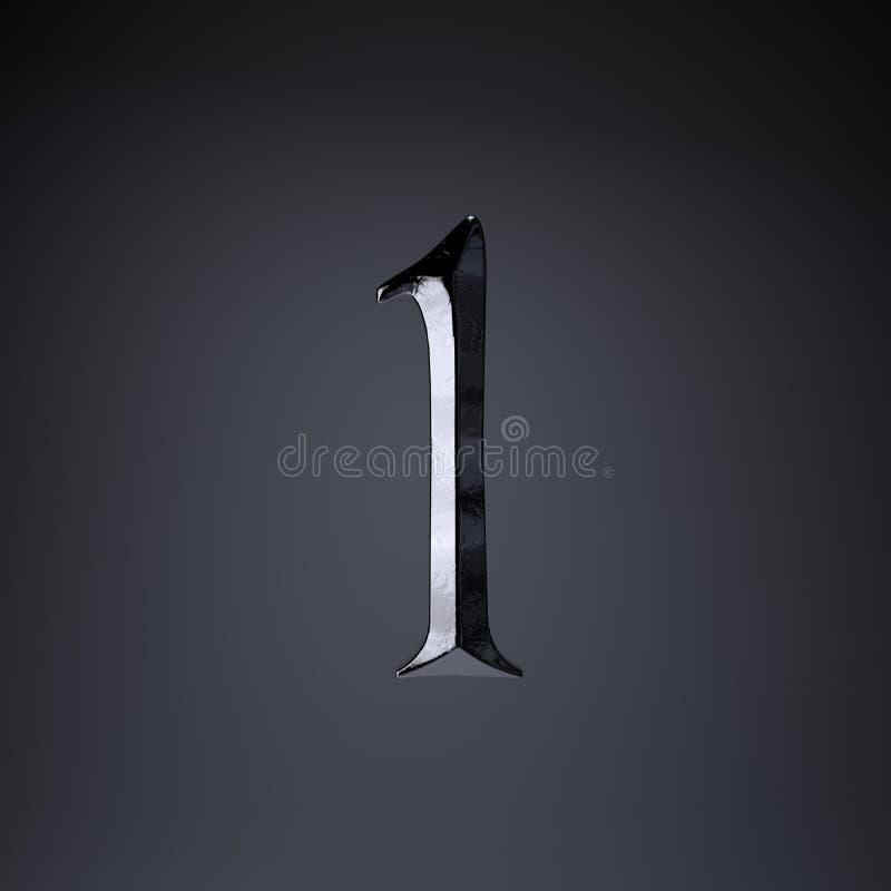 Ferro cesellato numero 1 3d rendono la fonte di titolo di film o del gioco isolata su fondo nero illustrazione vettoriale