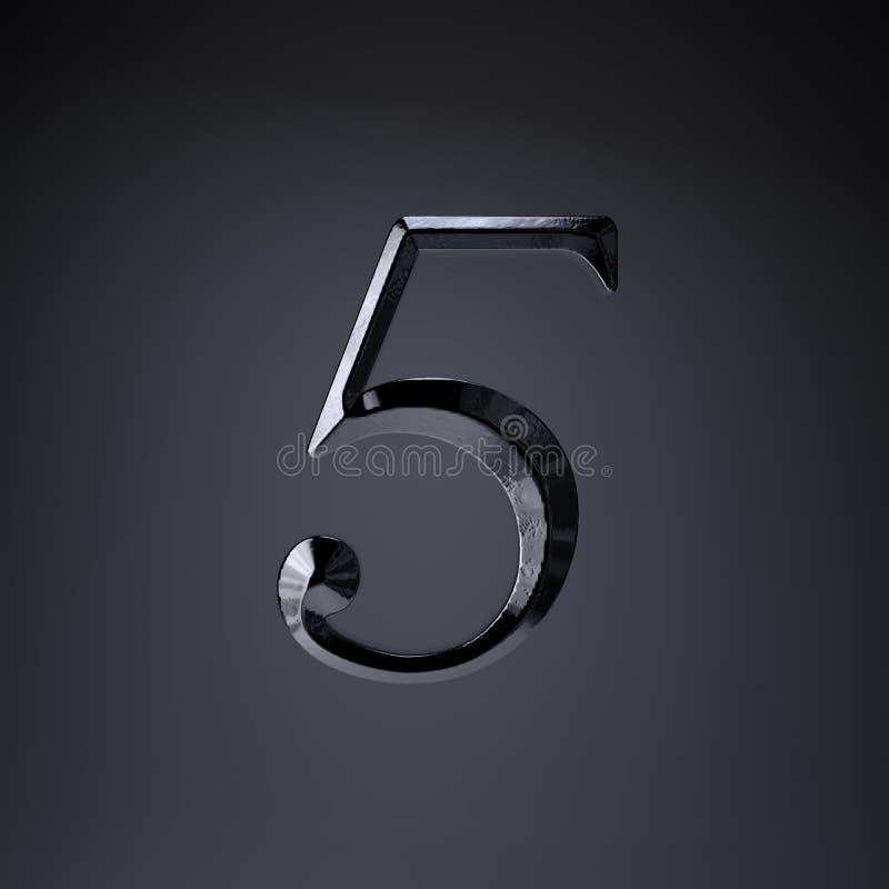 Ferro cesellato numero 5 3d rendono la fonte di titolo di film o del gioco isolata su fondo nero illustrazione vettoriale