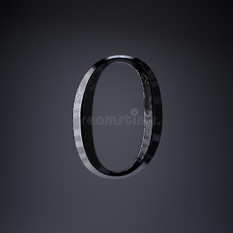Ferro cesellato numero 0 3d rendono la fonte di titolo di film o del gioco isolata su fondo nero royalty illustrazione gratis