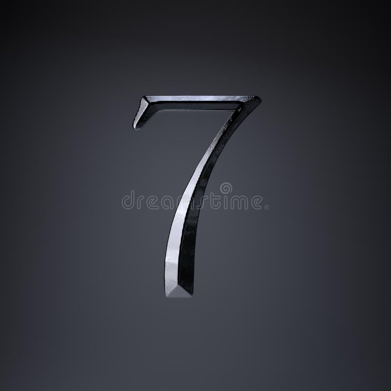 Ferro cesellato numero 7 3d rendono la fonte di titolo di film o del gioco isolata su fondo nero illustrazione di stock