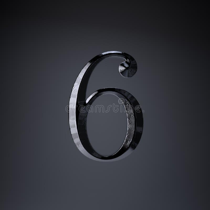 Ferro cesellato numero 6 3d rendono la fonte di titolo di film o del gioco isolata su fondo nero royalty illustrazione gratis