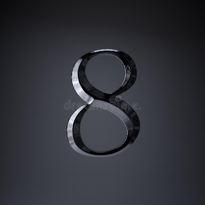 Ferro cesellato numero 8 3d rendono la fonte di titolo di film o del gioco isolata su fondo nero illustrazione di stock