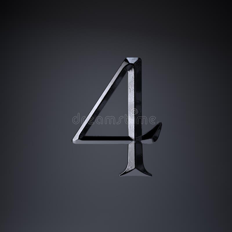 Ferro cesellato numero 4 3d rendono la fonte di titolo di film o del gioco isolata su fondo nero royalty illustrazione gratis