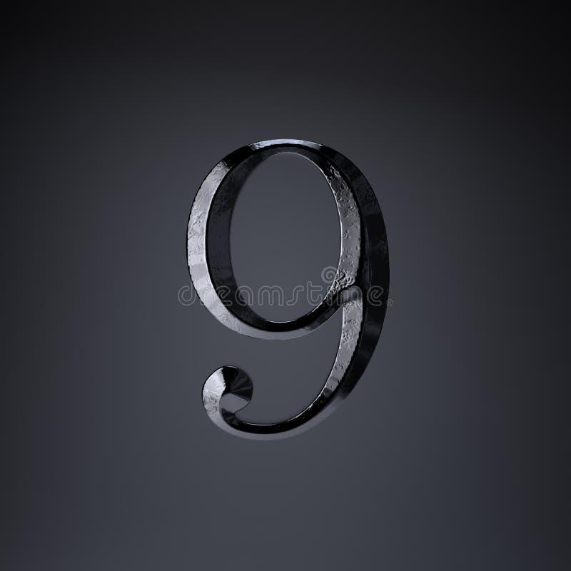 Ferro cesellato numero 9 3d rendono la fonte di titolo di film o del gioco isolata su fondo nero royalty illustrazione gratis