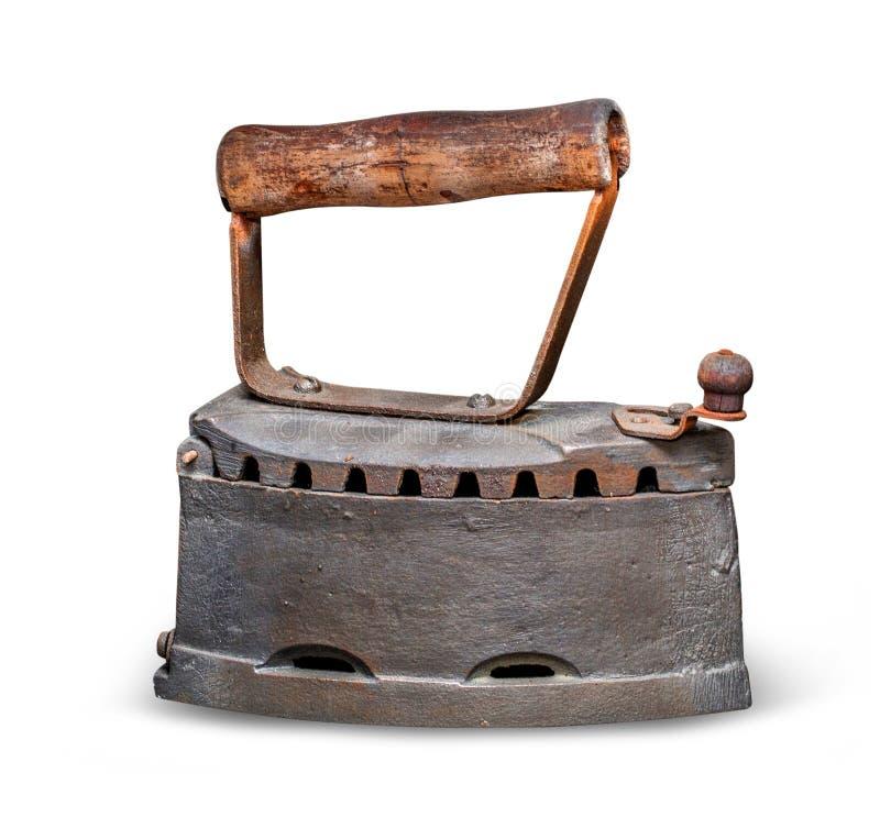 Ferro de alisamento oxidado velho antigo isolado imagem de stock