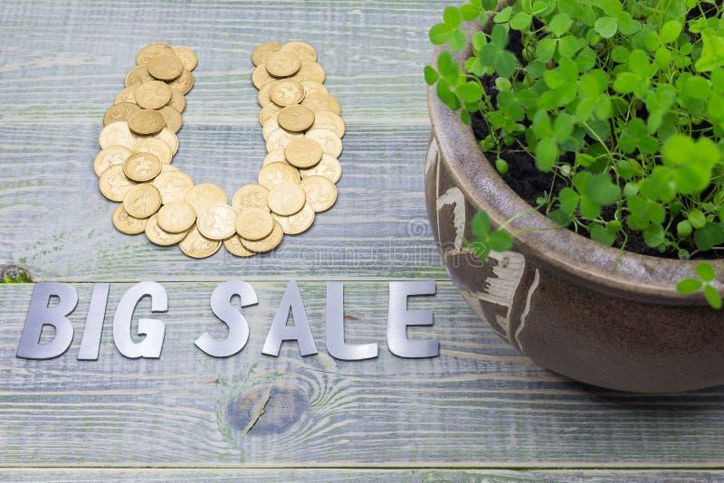 Ferro di cavallo delle monete di oro, iscrizione di acciaio inossidabile - grande vendita Vaso con un trifoglio crescente, su un  immagini stock libere da diritti