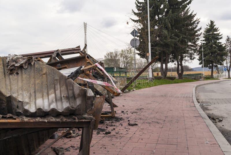 Ferro do perigo após o fogo fotografia de stock