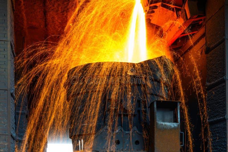 Ferro liquido dalla siviera fotografie stock
