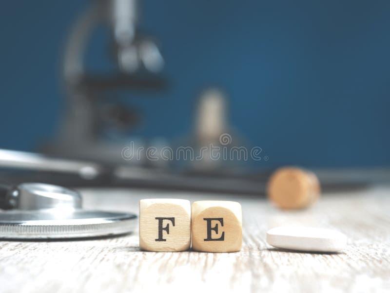 Ferro periódico da palavra nos blocos de madeira imagens de stock