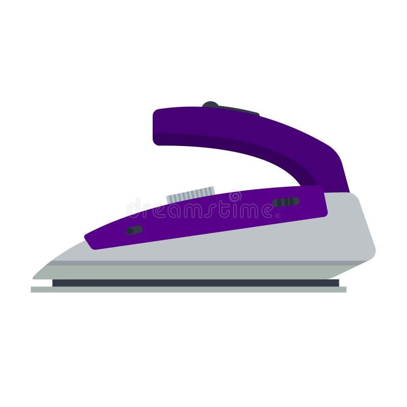 Ferro porpora isolato su fondo bianco - illustrazione Materiale elettrico di logo piano dell'icona, apparecchio elettrico riveste illustrazione vettoriale