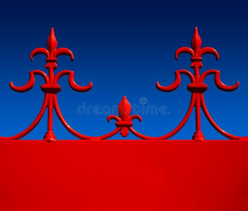Ferro saldato rosso fleur de lys contro il bl graduato illustrazione vettoriale