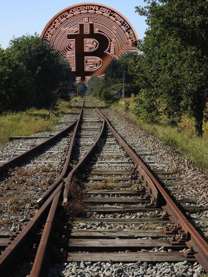 Ferrocarril a Bitcoin imagen de archivo libre de regalías
