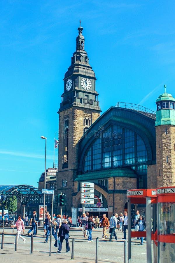 Ferrocarril central Hauptbahnhof, Hamburgo Alemania de Hamburgo fotos de archivo libres de regalías