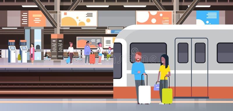 Ferrocarril con los pasajeros de la gente que van apagado tren que lleva a cabo los bolsos transporte y concepto del transporte ilustración del vector