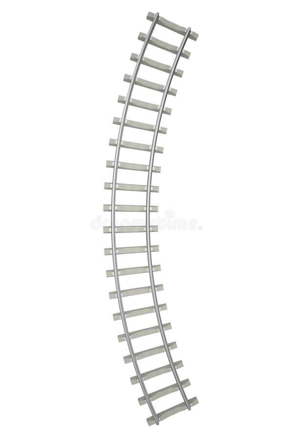 Ferrocarril curvado aislado en el fondo blanco stock de ilustración
