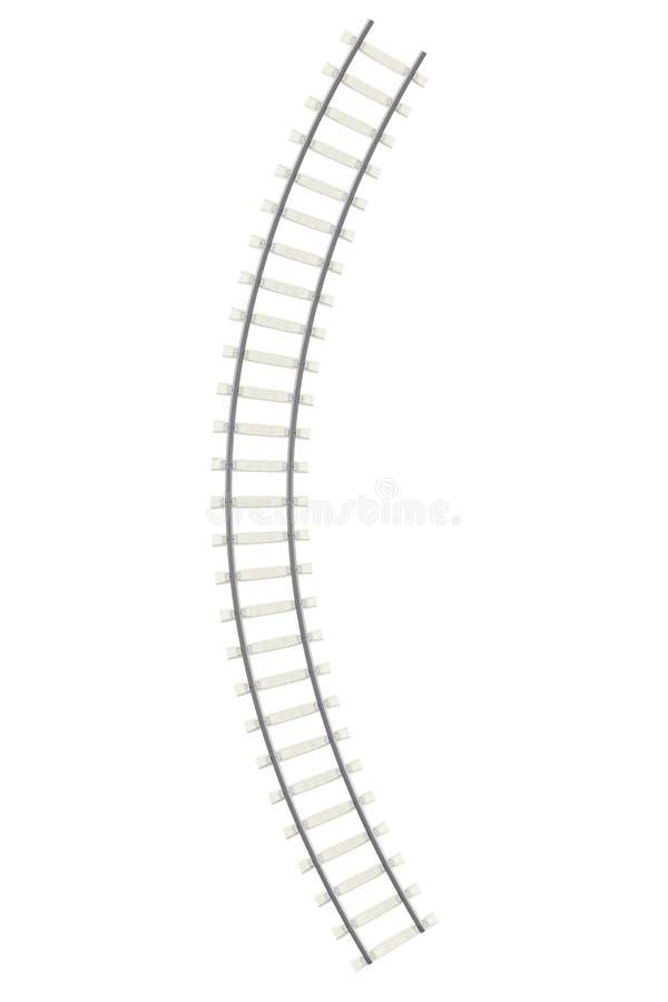 Ferrocarril curvado en el fondo blanco stock de ilustración