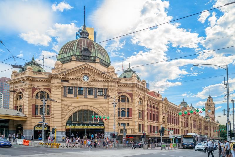 Ferrocarril de calle del Flinders foto de archivo