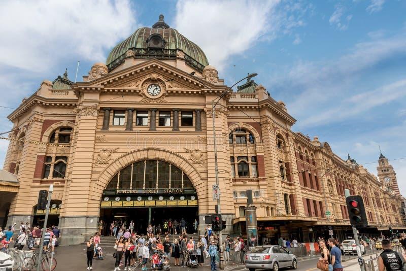 Ferrocarril de calle del Flinders en Melbourne, Australia imágenes de archivo libres de regalías
