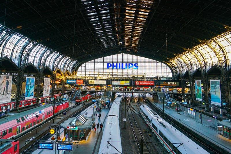 Ferrocarril de Hamburgo Hauptbahnhof foto de archivo libre de regalías