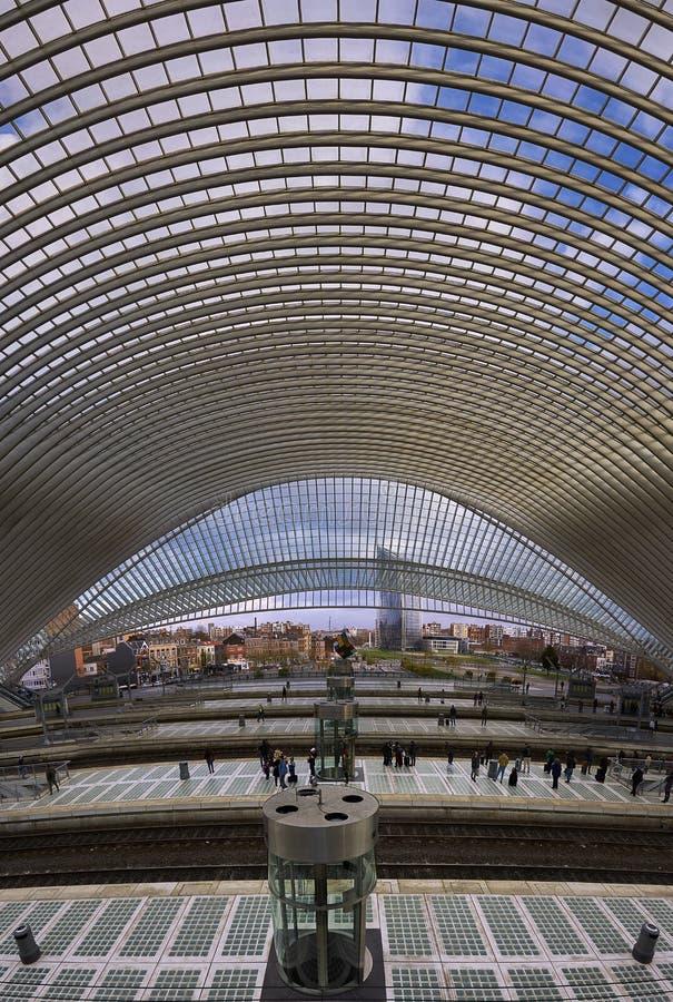 Ferrocarril de Luik Guillemins de Santiago Calatrava fotografía de archivo libre de regalías