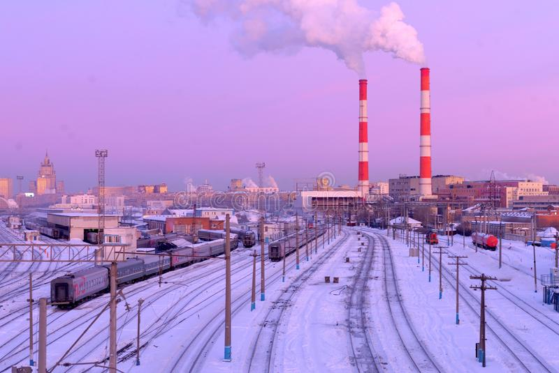 Ferrocarril de Moscú Kiyevsky, Moscú, Rusia fotografía de archivo libre de regalías
