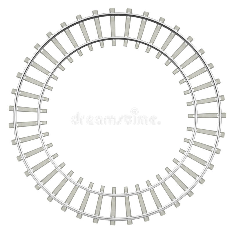 Ferrocarril del círculo aislado en el fondo blanco stock de ilustración