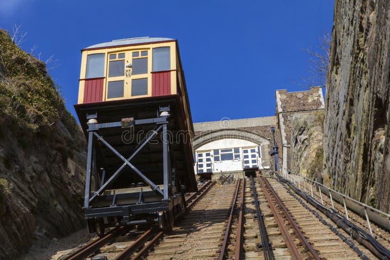 Ferrocarril del este de la elevación de la colina en Hastings fotografía de archivo libre de regalías