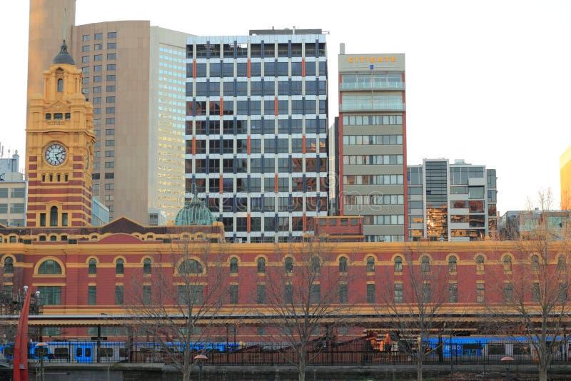 Ferrocarril del St de Flinder de Melbourne imágenes de archivo libres de regalías