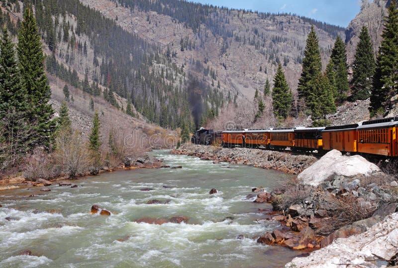 Ferrocarril del vapor del calibrador estrecho en Colorado los E.E.U.U. fotos de archivo libres de regalías