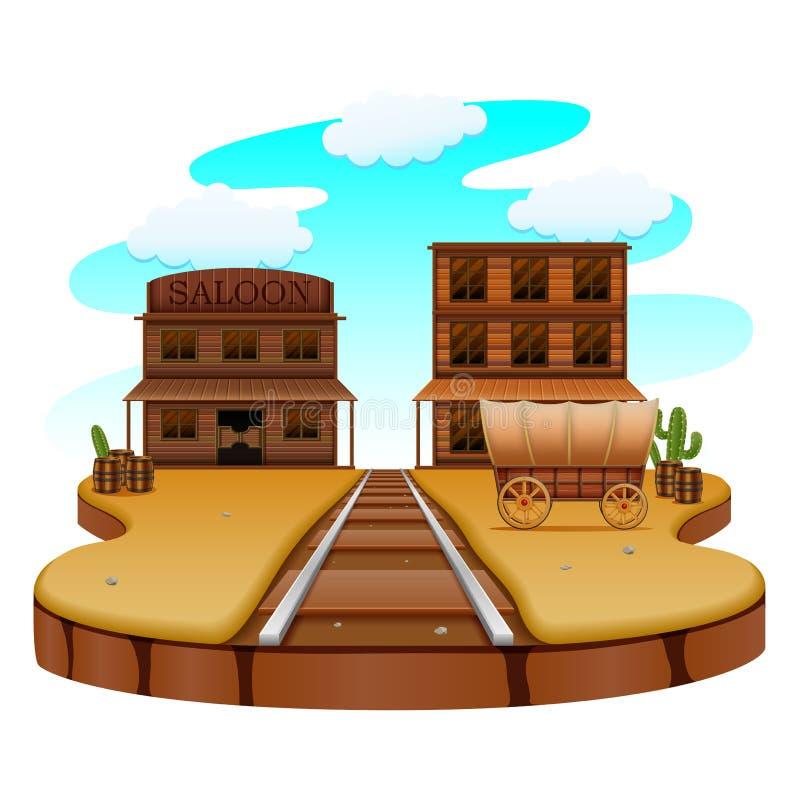 Ferrocarril en la ciudad occidental stock de ilustración