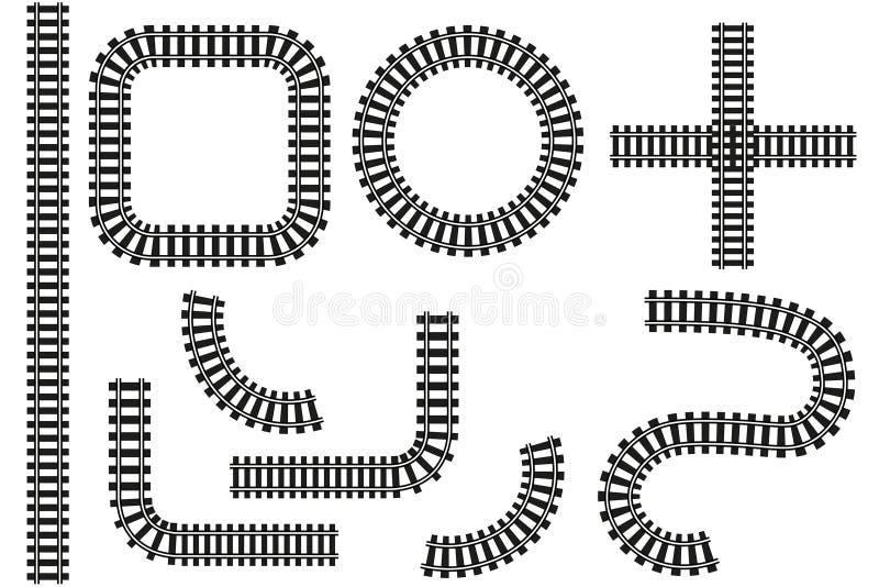 Ferrocarril en vector Derecho, curvas, empalme y círculo ilustración del vector